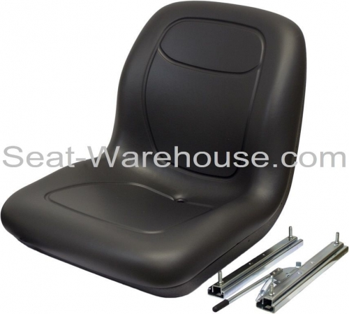 BLACK-HIGH-BACK-SEAT-w-Slide-Track-Kit-for-Case-Skid-Steer-Loader-QB-152266737763
