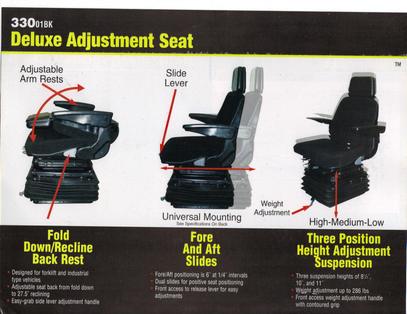 BLACK FABRIC SUSPENSION SWIVEL SEAT FOR EXCAVATOR, FORKLIFT, WHEEL LOADER,  DOZER, BACKHOE, TRACTOR #LK