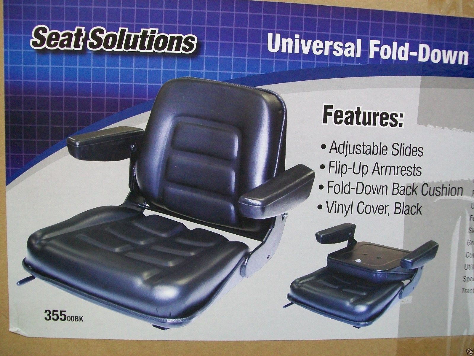 UNIVERSAL HEAVY DUTY SEAT W/ ARM RESTS FOR FORKLIFTS, TELEHANDLERS ...