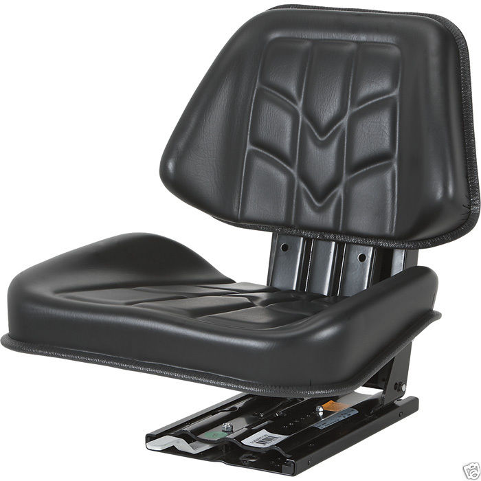 Utility Tractor Seats : Deluxe black trapezoid suspension seat farm utility